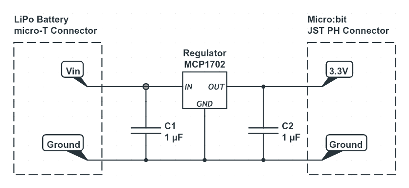 Micro:bit MCP1702 Voltage Regulator